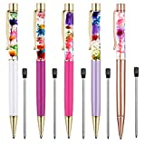 Ballpoint Pens, 5 Pieces Rose Gold/White/Purple/Rose Red/Dark Purple Metal Ball Pen refillable Refills Black Ink Herbarium Floral Pens for Office Supplies