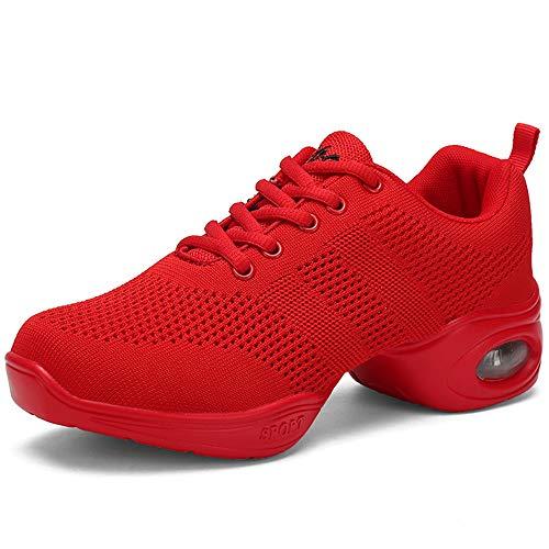 Femme de Danse Gros Talon Semelle Souple Mesh Respirant Chaussure de Sport Walking Fitness Gym Danse Hip Hop Jazz Casual Basket Mode Grande Taille 34-42 (39 EU, Style2-Rouge)