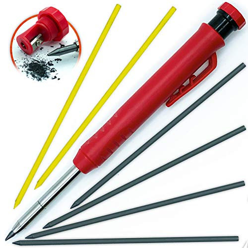 Solid Carpenter Pencil Set for Construction [ +7 LEADS +SHARPENER] Tul Pens Fine Point Grease Mechanical Pencils Wood Marker/Best Marking tools for Carpenters Drawing Scriber Woodworking Architect