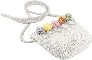 oAtm0eBcl Straw Sun Hats for Kids, Wide Brim Baby Girl Anti-UV Straw Hat, UV Protection Children Summer Visor Beach Wavy Sunhat Cap Bag Bag-Milk White