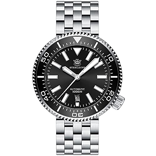 SD1976 - Reloj de buceo automático para hombre (100 bar, correa de acero inoxidable, cristal de zafiro, bisel de cerámica), color negro