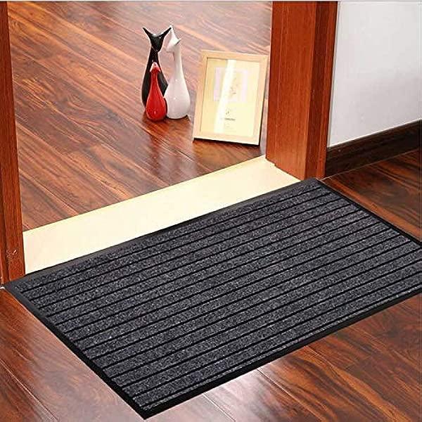 Goodxin XX1 11 Indoor Outdoor Mats Rubber Entrance Doormat Dirt Debris Mud Trapper Waterproof Out Door Mat Low Profile Washable Carpet 36 X24 Black Grey