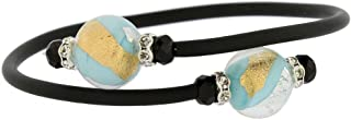 Murano Glass Venetian Glamour Bracelet - Turquoise Gold and Silver