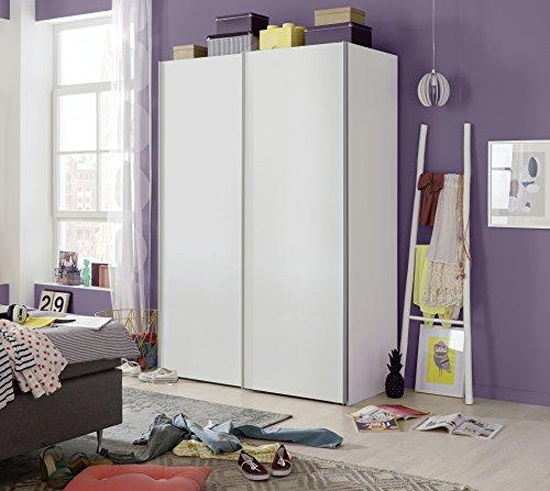 Express Möbel 35006000-070 Budget 2 2-türiger Schwebetürenschrank, Holzdekor, Weiß, Tiefe 68 cm