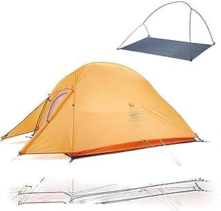 Uppgraderat Cloud Up 2 ultralätt tält fristående 20D tyg campingtält för 2 personer med gratis matta -210T orange, Frankrike