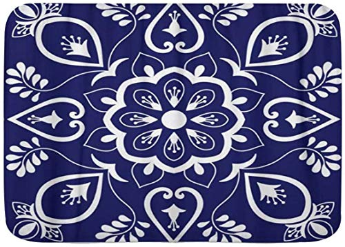 Alfombra de baño, adornos con motivos florales azules y blancos, azulejo portugués de talavera mexicana, alfombrillas de felpa para decoración de baño con respaldo antideslizante, 15.7 'x 23.6'