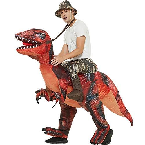 SMchwbc Cosplay Halloween-aufblasbarer Dinosaurier Fancy Kleid Kostüm Reiten Velociraptor Cosplay Kostüm für Erwachsene Party Dekoration Aufblasbare Kleidung (Color : Red, Size : One Size)