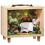 Fsolis DIY Miniature avec des Meubles de Maison de poupée,Maison Miniature en Bois 3D avec Cache-Poussière , Kit Miniature de Maison de Poupées Cadeau Créatif K06