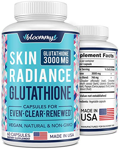 Glutathione Supplement 3000 MG - Made in USA - Natural Skin Brightening Treatment - Vegan Glutathione Capsules for Even Skin Tone - Dark Spots & Hyperpigmentation Relief - Non-GMO - 60 Pills