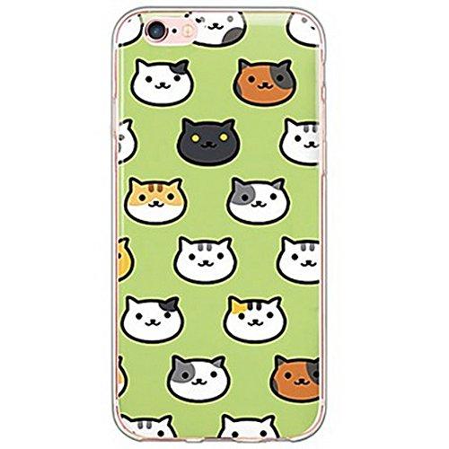 SecondDromi Muchos Avatar Lindo Gato Feliz patrón Silicona Funda para iPhone 6S(4,7'), para iPhone 6,Verde