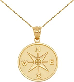 10k Gold Compass Medallion Charm Pendant Necklace