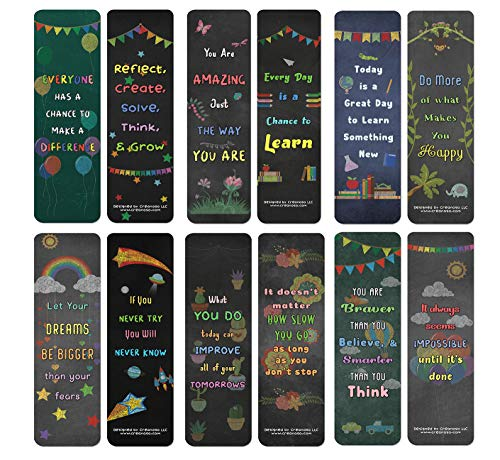 Creanoso Colorful Motivational Positive Encouragement Bookmarks Cards (60-Pack) - Premium Gift Ideas for Children, Teens, & Adults for All Occasions - Stocking Stuffers Party Favor & Giveaway