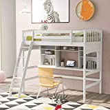 Twin Size Solid Wood Loft Bed with Angled Ladder/Desk/Storage Shelves/Bookcase/Safety Guard Rail, No Box Spring Needed (White)