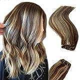 Human Hair Weft Extensions Sew in Chocolate Brown to Blonde Highlights Remy Hair Weave Extensions Straight Balayage Human Hair Bundles Sew in Hair Weft Bundles 100 Gram/ Set Brazilian Virgin Hair Bundles 16 Inch for Women