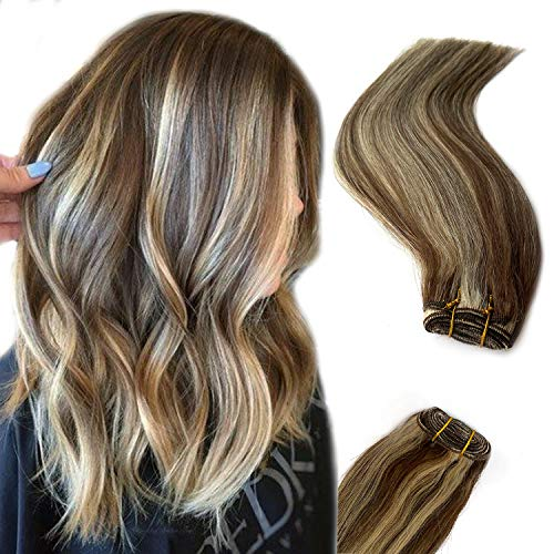 Blonde Highlights Human Hair Bundles Brown to Bleached Blonde Sew in Hair Weft Extensions Straight Real Hair Weave Extensions 18 Inch Double Hand Tied Weft Hair 100 Gram for Women