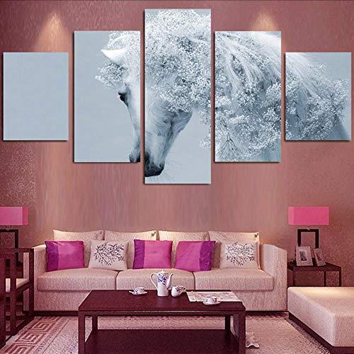 Fyyanm Poster HD Stampato Modern Canvas Living Room 5 Pezzi/Pezzi White Horse Animal Painting Wall Art Immagini Modulari Home Decor-20X35Cmx220X45Cmx220X55Cm