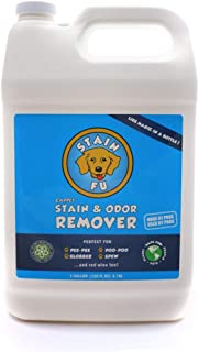 STAIN FU Pet Stain Odor Remover Professional Strength Powerful Eliminator for Tough Dog Cat Pet Urine Pee Poop Feces Vomit Slobber Drool Blood Wine Coffee Home Kennel Car RV Office Multi Surface