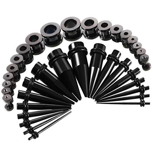 36 Piezas Dilatador Acero Quirurgico Set 1.6-10mm-Huacan Dilatación de Oreja Túnel