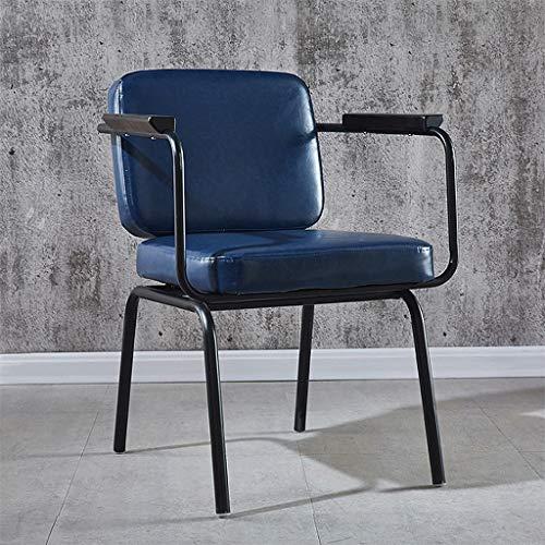 DJFIOSD Sedia retrò Moderna, Sedia in Pelle in Ferro Battuto in Stile Industriale Americano, Sedia con Braccioli, Sedia da Pranzo Soggiorno Camera da Letto Sedia da Pranzo,Dark Blue