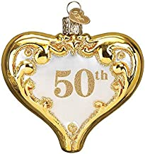 Old World Christmas Glass Blown Ornament with S-Hook and Gift Box, Wedding Collection (50th Anniversary Heart, 30056)