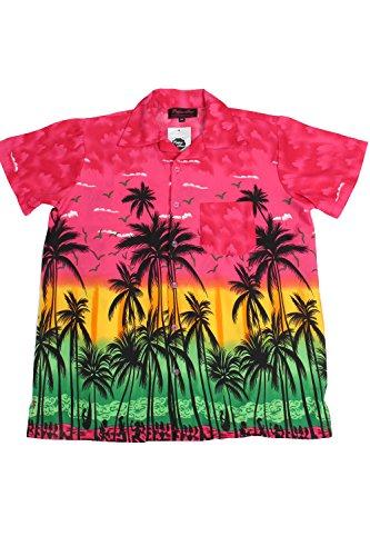 Camicia Hawaiana New Stag Beach Palm Hawaii Aloha Party Estate Fancy Fushia XS