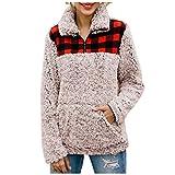 Sudadera Mujer Invierno Tumblr Pullover Cuadros de Felpa Caliente Suéter Sueltas Pelo Jersey Cálido Tops Deportivo Outwear Pulóver Casual Ropa para el Hogar(Caqui,L)
