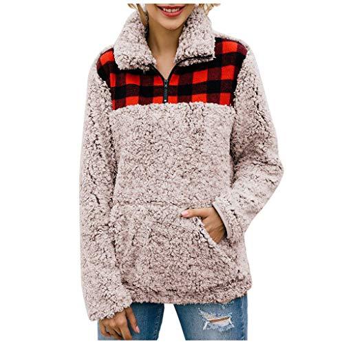 Lazzboy Frauen Plaid Flanell Patchwork Langarm Sweatshirt Pullover Shirt Tops Bluse Damen Fleecejacke Zip-Jacke Sweatjacke Mit Stehkragen Und Taschen(Khaki,XL)