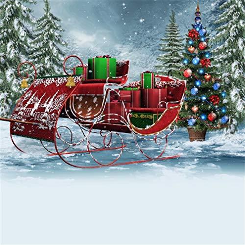 YongFoto 8x8ft Vinyl Kerstmis Achtergrond Fotografie Kerstmis Kerstman Slee Vol Geschenken Winter Sneeuw Achtergronden voor Fotografie Fotografie Shoots Foto Achtergrond Studio Props