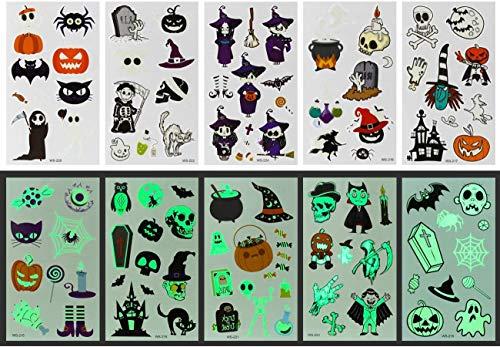 GWHOLE Halloween Pegatinas para Niños Pegatinas Brillan en la Oscuridad, Accesorios de Disfraces Halloween Decoraciones