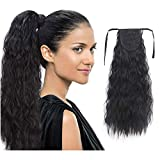 22 Inch Long Corn Wave Ponytail Synthetic Corn Wave Black Ponytail Hair Extension Hairpiece long Wavy Natural Bandage Ponytail for Women(Color:1B#)