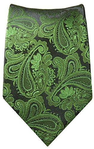 Paul Malone Cravate homme vert noire paisley 100% soie