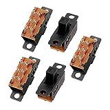 uxcell スライドスイッチ 3ポジション 6P DPDT ミニチュア PCB ラッチ 5本いり