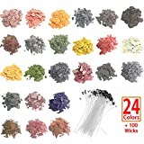 SthAbt - 24 Color Candle Dye Natural Soy Candle Wax Chips Kit DIY Scented Dipped Candle Coloring Supplies with...
