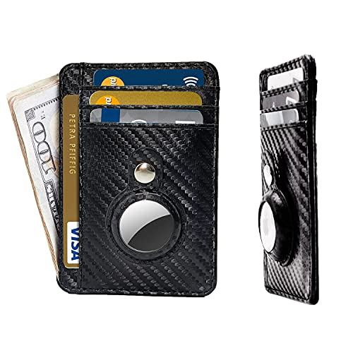 Airtag Wallet Holder Airtag Wallet Case Slim Minimalist Front Pocket Wallet with Built-in Case Holder for AirTag,Multifunctional Wallet with Apple AirTag Case Cover for Men Women