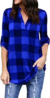 Jojckmen Women Stand Collar V Neck Plaid Blouse Loose Pullovers Plus Size Female Top