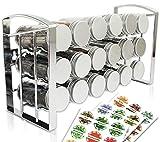 LEANDER DESIGN® Gewürzregal mit 18 Gewürzgläsern – Spice Rack Organizer für Küchenschrank...