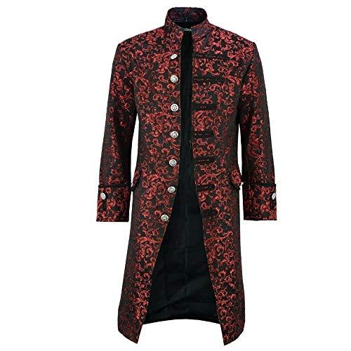 XLDD Herren Steampunk Vintage Tailcoat Jacke Gothic viktorianischen Mantel Party Uniform Kostüm Jacquard Tailcoat Stand Kragen Einzigartiges Design Stilvolle Mantel Halloween Kostüm L