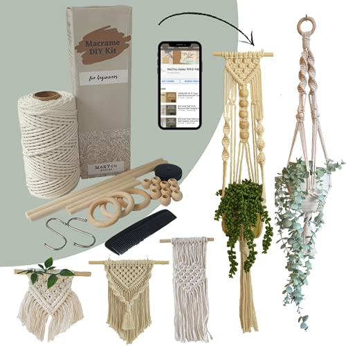 Easy Macrame DIY Kit for Adults Beginners, Wall Hanging, Plant Hanger, Crafts Starter Kit with Easy-to-Follow Video Tutorials, 328 feet (=100 Meters) of Cotton Cord Rope, Wooden Dowel, Wooden Beads