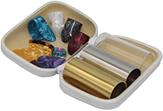 SUNLP 3 Pieces Medium Guitar Slides (Include 2 Colors Stainless Steel, 1 Pieces Glass), 6 Pieces Guitar Picks and 4 Pieces...