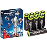 Playmobil - Cohete con plataforma de lanzamiento (61950) y 8 pilas recargables AA de...