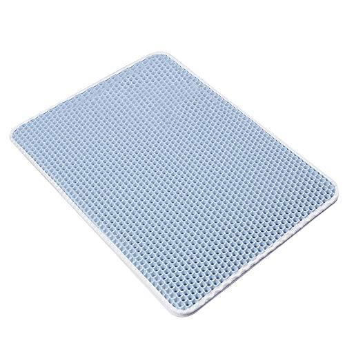 H87yC4ra - Tappetino per lettiera a doppio strato in EVA, impermeabile, pieghevole, 40 x 50 cm, colore: Azzurro