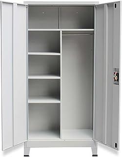 Festnight armoire de rangement avec 2 portes Acier 90 x 40 x 180 cm Gris pour placard, meuble de classement