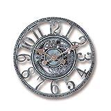 ningdeCK Reloj de pared de 30 cm, resistente a la intemperie, decoración de jardín, adorno de resina impermeable, 3D, interior, exterior, bronce, verde, vintage, funciona con pilas, bar, oficina
