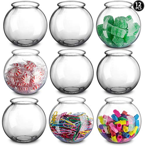 Plastic Ivy Bowls - 16 Oz Fish Bowl 4 Inch, Unbreakable BPA-Free Heavy Duty Plastic Fishbowl Vases for Candy, Carnival Games, Prizes, Centerpieces and Party Decoration Supplies, Pack of 12