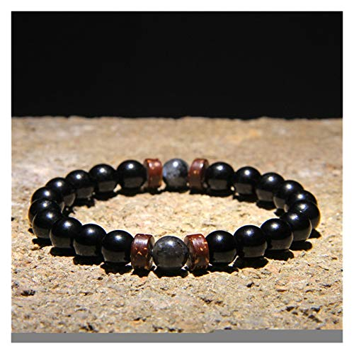 YCSC Pulsera Natural Moonstone Beads Tibetano Buda Pulsera Vintage Chakra Volcánico Lava Piedra Charm Pulsera Hombres Joyería (Length : 23CM, Metal Color : 3)