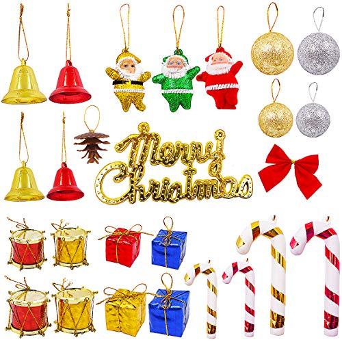 YUESEN Adornos Navideños 43 Piezas Árbol de Navidad Decoraciones Navideña, Incluyendo Campana de Navidad, Santa Claus, bastón de Caramelo, Bongo de Navidad, Elementos Navideños Clásicos