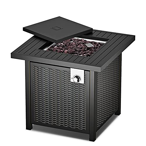Propane Fire Pit, Outdoor Fire Pit Table with Lid, 28 Inch 50000 BTU Auto-Ignition Gas Fire Pit...