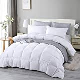 EDUJIN 100% Cotton Comforter Down Comforter Twin Goose Duck Down and Feather Filling Duvet Insert and Medium Warmth All-Season Duvet with Corner Tabs 6890 White