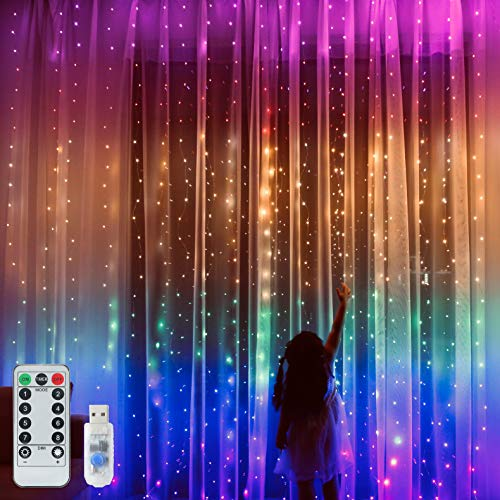 Rainbow Curtain Lights, 9.8ftx9.2ft 280 LED Curtain String Lights with USB Remote Control 8 Modes for Girls Kids Room Decor, Unicorn Decor,Hanging Fairy Lights for Bedroom,Wall,Party