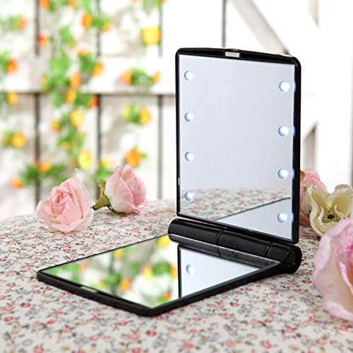 MomokaiTK Lampe Miroir Les Femmes Mesdames composent Le Miroir portatif Se Pliant cosmétique Compact, Noir